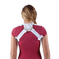 Clavicle support from back view, criss-cross straps, white