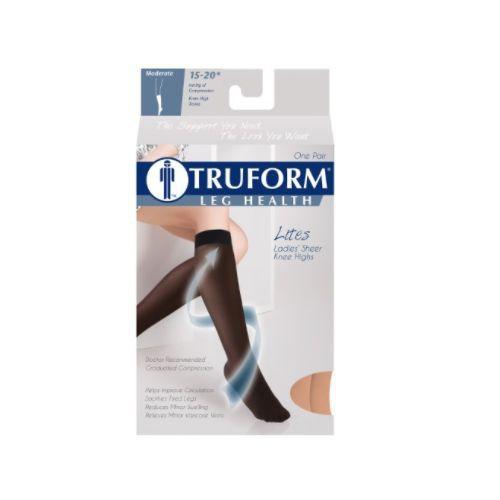 TRUFORM Women's LITES Knee High Support Stockings 15-20 mmHg