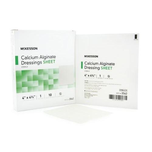 Mckesson Calcium Alginate Dressing 4 x 4-3/4 Inch - Sterile - 3562