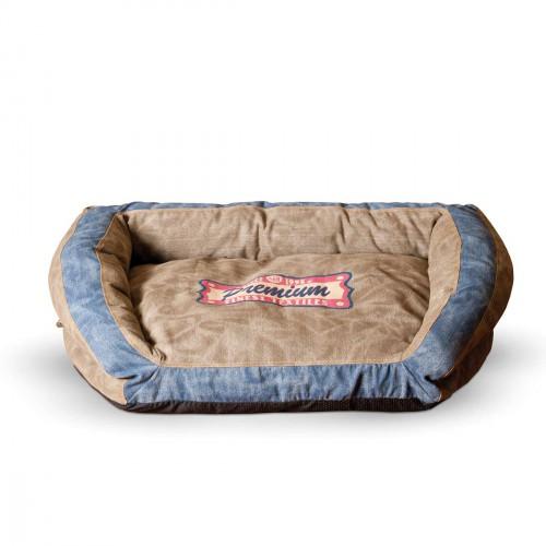 Vintage Bolster Pet Bed Premium Logo