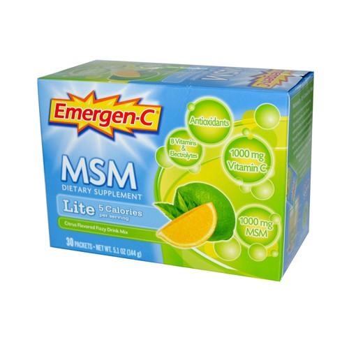 Alacer Emergen C MSM Formula Fizzy Drink Mix Lite Citrus