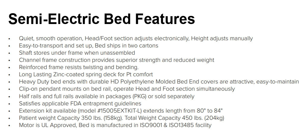 drive medical 15004 semi electric bed with single crank da7