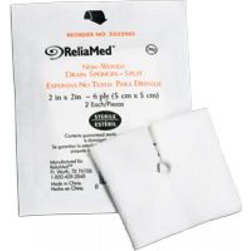 Drainage Split Gauze Sponge 55CNWDS226S | 2 x 2 Inch, 6 Ply, Sterile - Cardinal Health