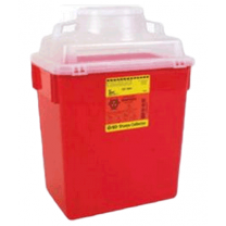 6 Gallon Red BD Stackable Sharps Container Large Funnel with Clear Top 305465