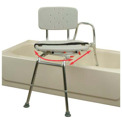 Transfer Bench Molded with Back and Swivel Seat - Long