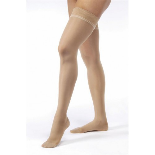 Jobst Ultrasheer Pattern Thigh High Moderate Compression Stockings with Lace Silicone Border 15-20 mmHg
