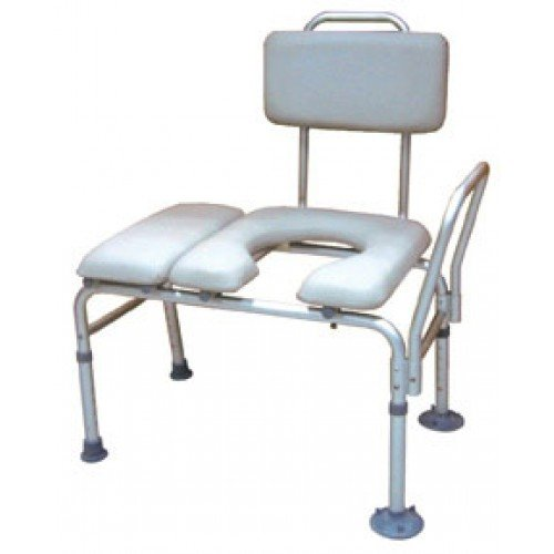 Bath Shower Transfer Bench with Padded Seat and Commode Opening