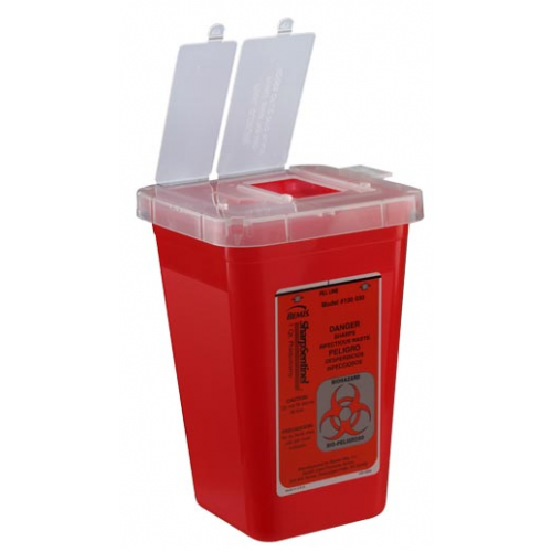1 Quart Red Sharps Container with Needle Remover Key 100-030