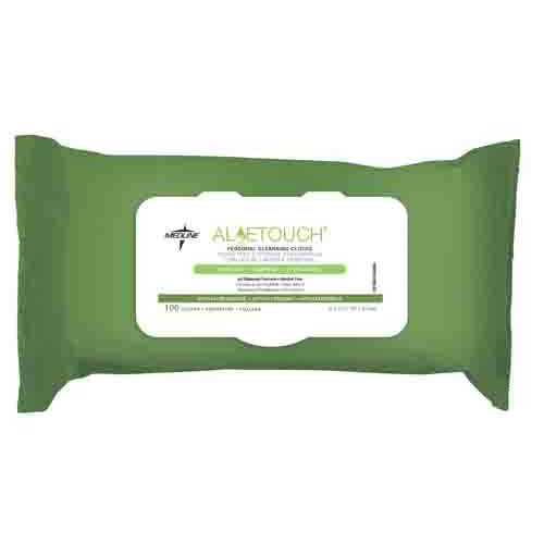Medline AloeTouch Lightweight Personal Cleansing Cloth Wipes, 8 x 12 inch Adult Large Incontinence Wipes