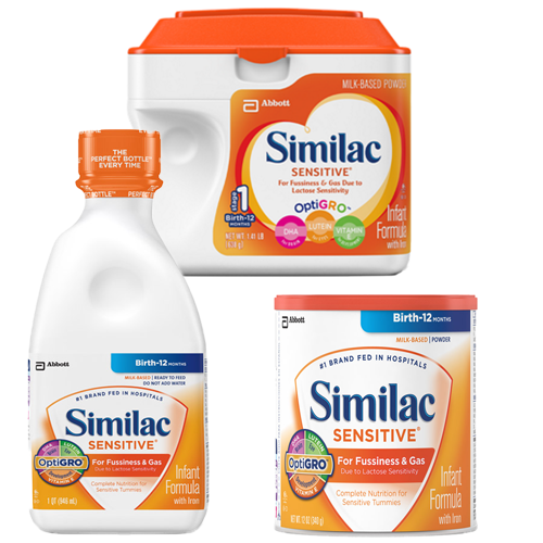 similac sensitive infant formula w iron e1b