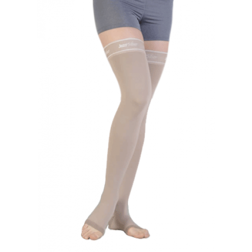 Juzo Silver Soft II0VIII Thigh High Compression Stockings w/ Silicone Top Band OPEN TOE III0-IV0 mmHg