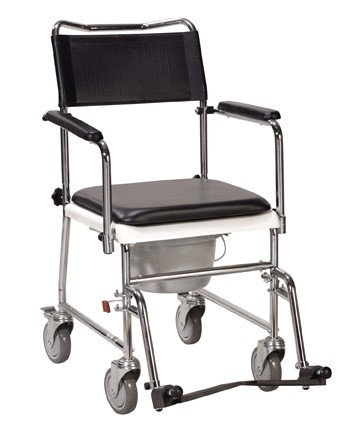 Portable Wheeled Bedside Commode With Upholstered Drop
