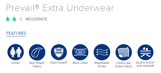 Prevail Extra Underwear Features
