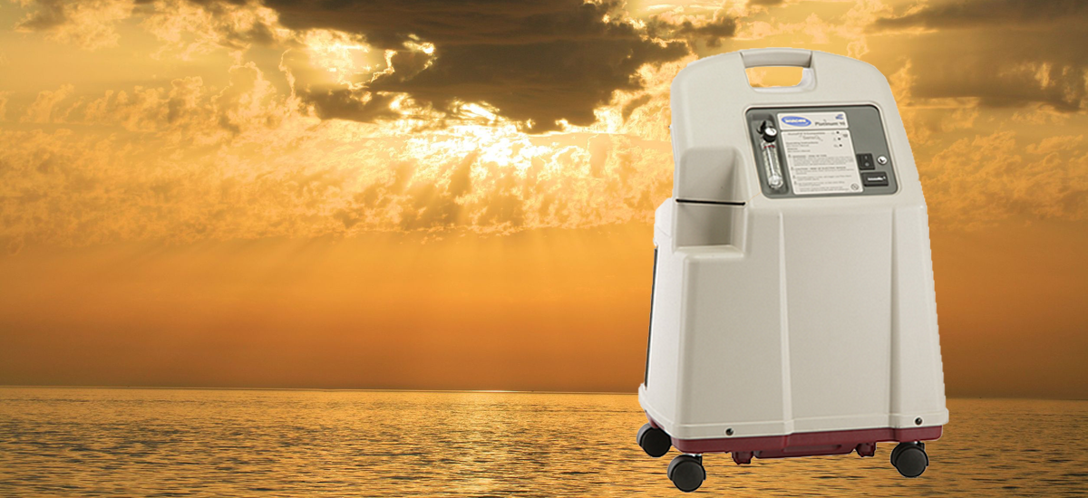 invacare platinum 10 oxygen concentrator with ocean landscape