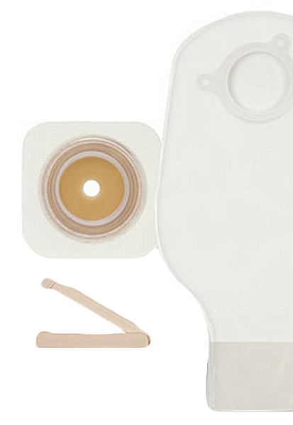 2-Piece Ostomy System - Skin Barrier and Ostomy Bag with Closure Device