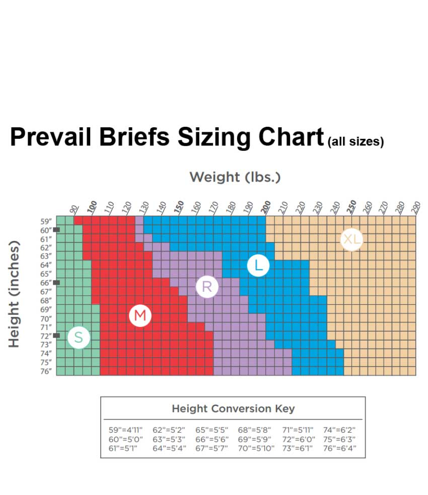 Briefs Sizing Guide - All Sizes