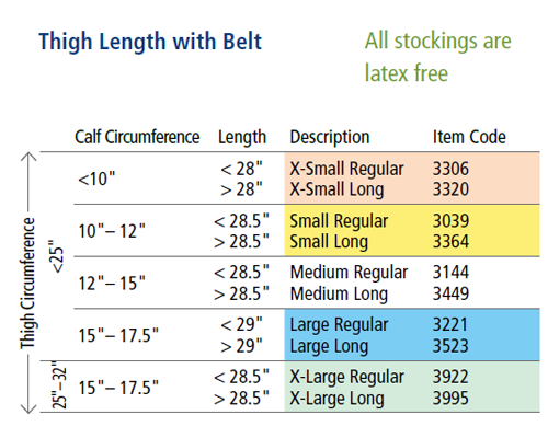 Thigh Length with Belt Sock Sizes