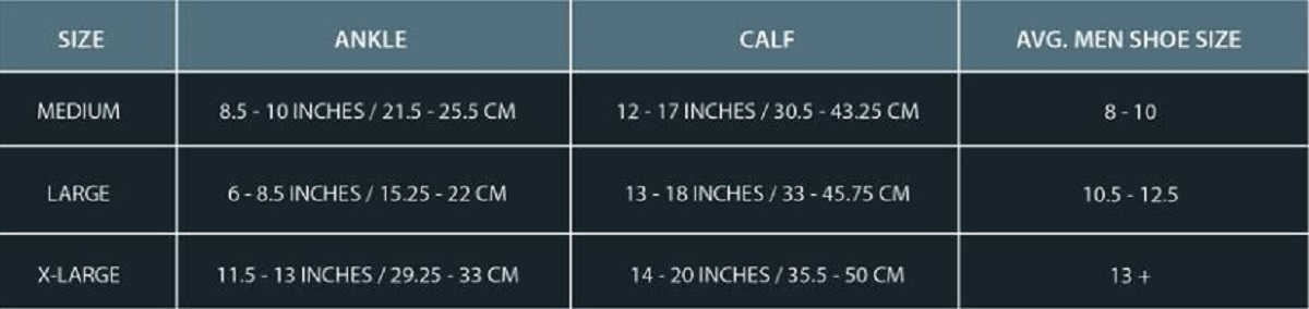 mens compression size chart