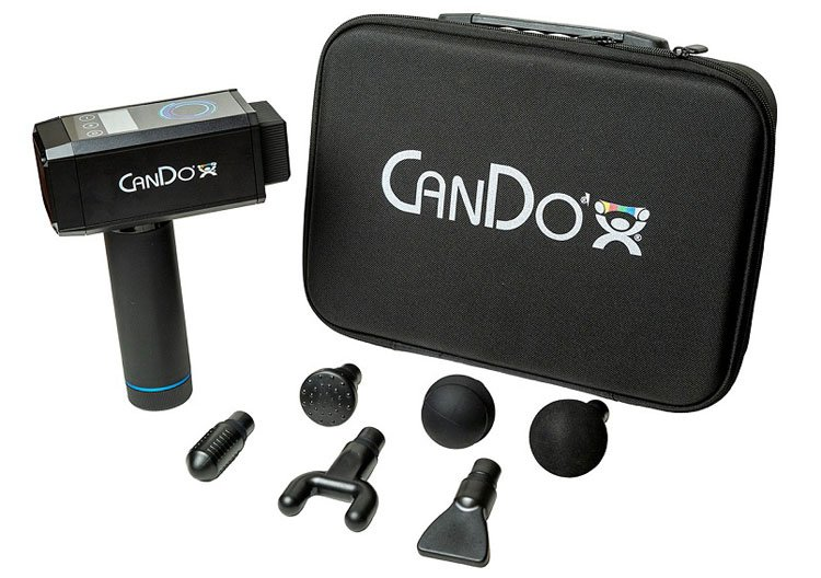 The CanDo Handheld Percussion Massage Gun comes with six massager heads