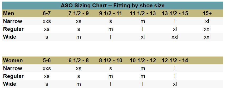 ASO Speed Lacer Ankle Stabilizer Sizing Chart